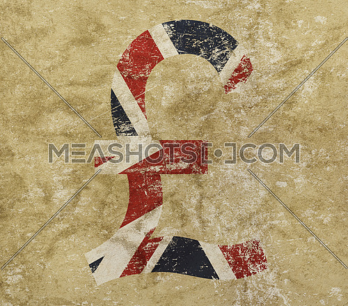 British pound currency icon sign with UK flag over distressed shabby grunge background
