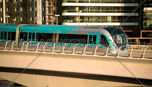 Dubai Metro traveling on the rail