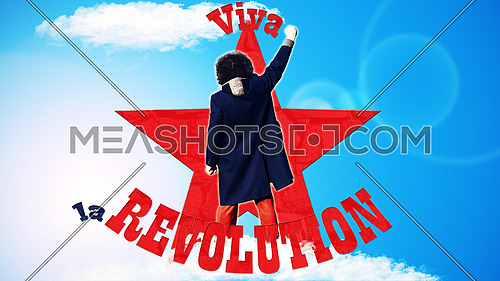 Man standing with fist pointed up on blue background with red star and text that spells Viva la Revolution