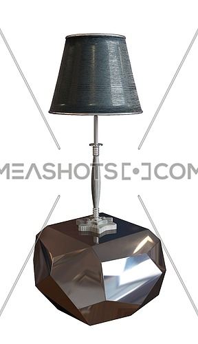 Black lamp with lampshade sitting on a metallic or glass, silvery pedestal. 3D illustration isolated against a white background
