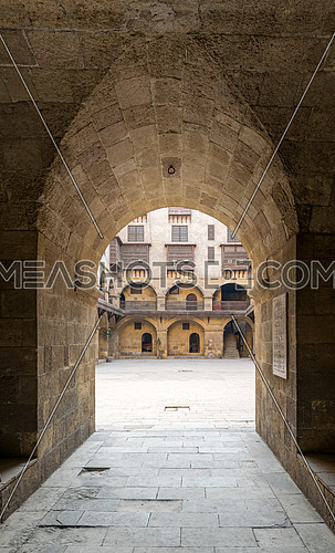 Vaulted entrance ntarnce of caravansary (Wikala) of Bazaraa, suited in Tombakshia street, Al Gamalia district, Medieval Cairo, Egypt