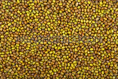 Green and brown dried Asian traditional mung (moong) gram beans close up pattern background, elevated top view