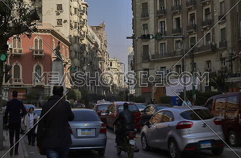 Fixed Shot for Traffic at Mohammed Farid Square at Cairo at Day
