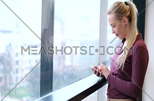 Elegant Blond Woman Using Mobile Phone by window in office building