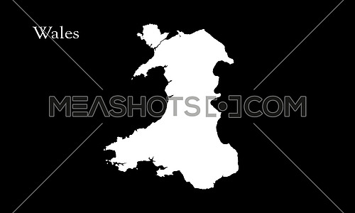 Map Of Wales Isolated On Black Background 3D Illustration