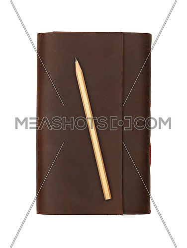 Close up of one vintage style jotter notebook with old leather cover and wooden pencil, isolated on white, elevated top view, directly above