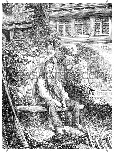 The Solitaire Lake, vintage engraved illustration. Magasin Pittoresque 1875.