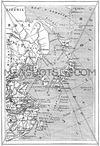 Map of Japan, Korea, China, vintage engraved illustration. Dictionary of words and things - Larive and Fleury - 1895.