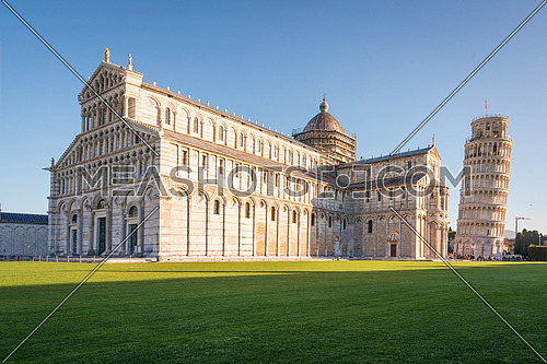 Piazza dei Miracoli (Square of Miracles),Pisa  with the Cathedral and the leaning tower, Unesco world heritage site,Italy.