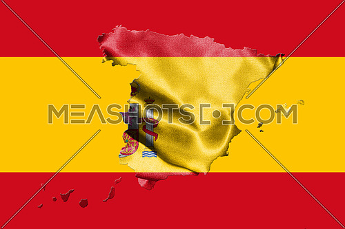 Map Of Spain With Spanish Flag On It 3D illustration