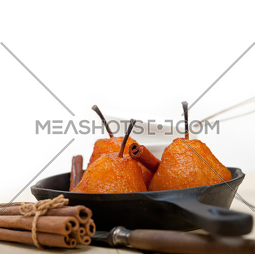 poached pears delicious home made recipe ove white  rustic wood table