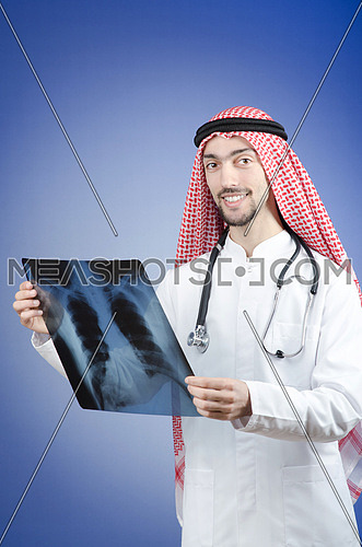 Arab doctor with x-ray print