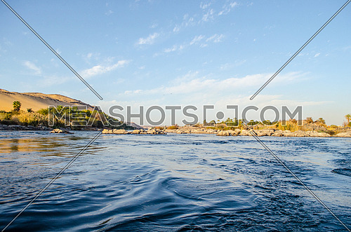 A landscape of Nile river in Aswan, Egypt.