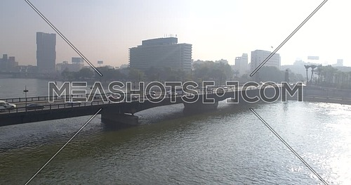 Aerial shot Drone for Kasr Al Nile Bridge in Cairo Downtown at Day