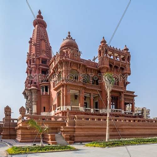 Angle view of rear facade of Baron Empain Palace, a historic mansion inspired by the Cambodian Hindu temple of Angkor Wat, located in Heliopolis district, Cairo, Egypt