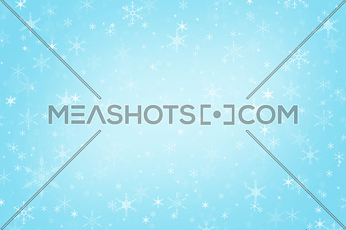 Abstract pastel blue Christmas holiday winter background of falling snow bokeh and snowflakes