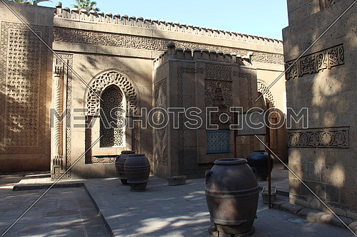 a photo from an islamic historical palace in Cairo , Egypt showing the style of architecture on its external area
