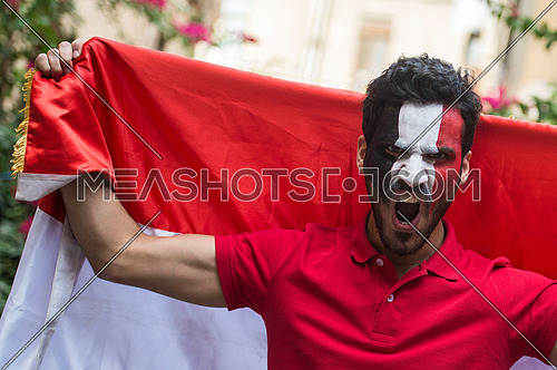 A young man encourages the Egyptian football team paints the flag of Egypt on his face.