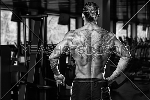 Portrait Of A Physically Fit Man In Modern Fitness Center - Black And White Photo