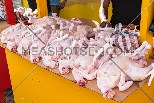 Raw whole chicken sold in local market,Dominican Republic