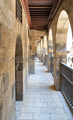 One of the arcades surrounding the courtyard of caravansary (Wikala) of Bazaraa, Medieval Cairo, Egypt