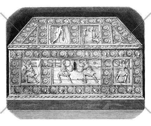 World Exhibition, Ivory casket from the ninth century, vintage engraved illustration. Magasin Pittoresque 1867.