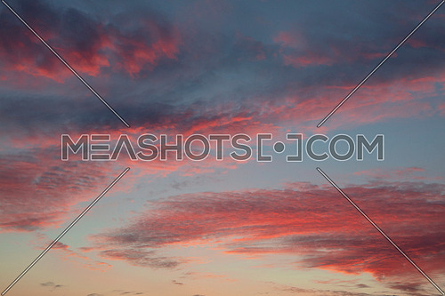 Beautiful cloudscape with red fluffy sunset clouds over blue sky, low angle view