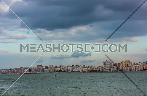 Track Right for Panorama shot of Alexandria City showing Library of Alexandria