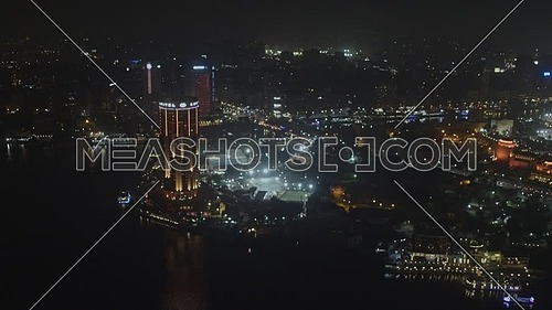Reveal Shot for Sofitel Hotel revealing Cairo Opera House and Cairo tower at night - Novermber 2018