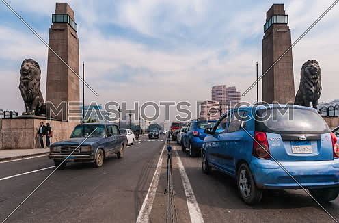 Track Left medium Shot for Qasr Al Nile Bridge with the Lions at Day