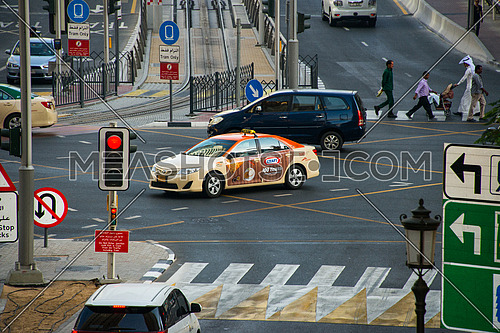 Dubai Taxi in an intersection in the Marina area  19 December 2015