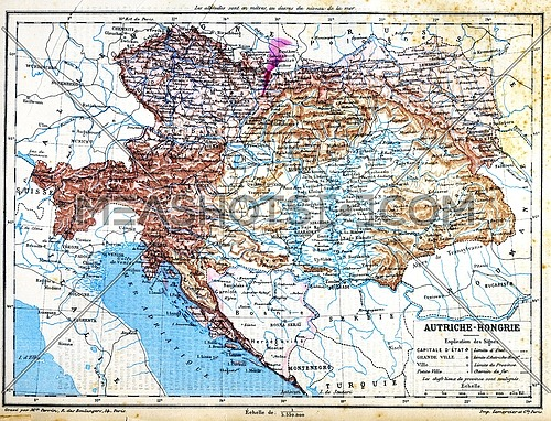 The map of Austria-Hungary with explanation of signs on map.