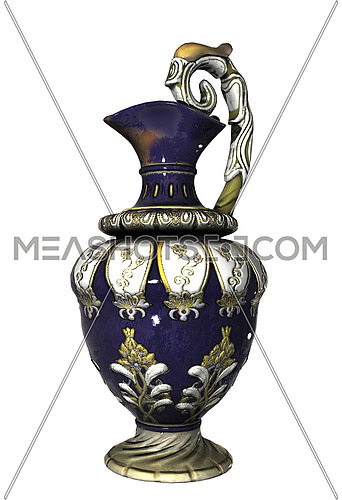 Ornate chinese ceramic or porcelain vase, with decorative flower patterns, isolated against a white background.