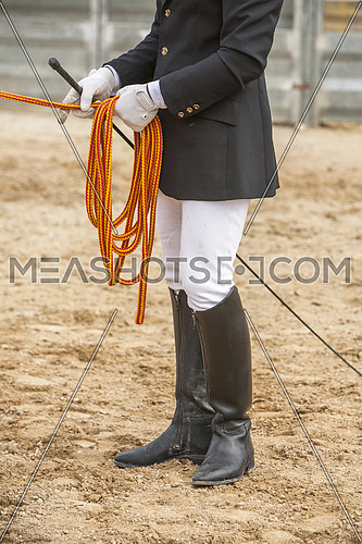 Equestrian test of morphology to pure Spanish horses, Detail of whip and ropes for dressage horses, Spain
