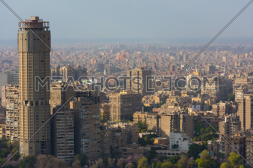 aerial view of Greater Cairo city downtown with Nile on a beautiful sunny day with blue sky and clouds capital of Egypt