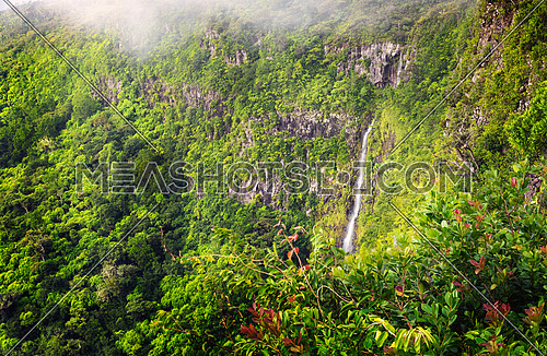 Beautiful panorama of waterfall Black River Gorges and jungle around it, Mauritius.