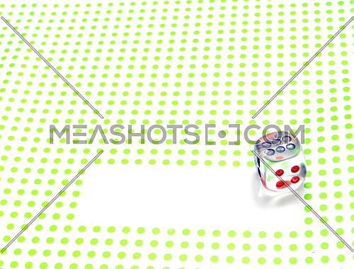 emtpy space for write with dice on green background