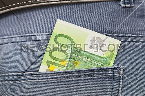 One Hundred Euros in jeans pocket