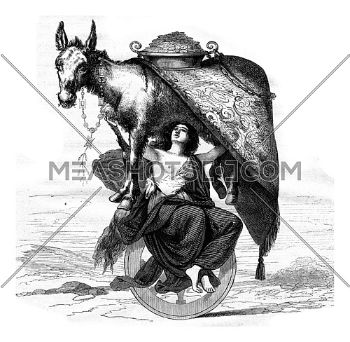 What we see too often!, vintage engraved illustration. Magasin Pittoresque 1867.