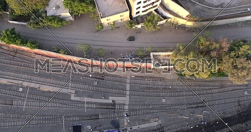Aerial shot for Railway Station in cairo at day