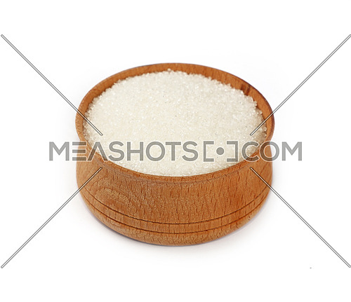 Close up one wooden bowl full of white sugar isolated on white background, high angle view