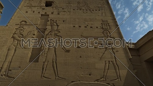 orbit shot for Writings on the main entrance of Temple of Phila at Aswan - Egypt by day