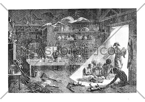 Inside the Anchieta Residence in Angola, Southern Africa, drawing by Bayard based on a sketch by Serpa Pinto, vintage engraved illustration. Le Tour du Monde, Travel Journal, 1881