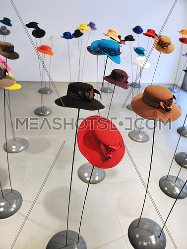 lady hat fashion object shop in modern butique indoor