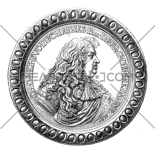The Duke of Chaulnes, governor of Britain, On the medal after the cabinet Retained medals, vintage engraved illustration. Magasin Pittoresque 1880.