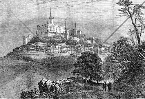 Manor and village Montmelas, vintage engraved illustration. Magasin Pittoresque 1870.