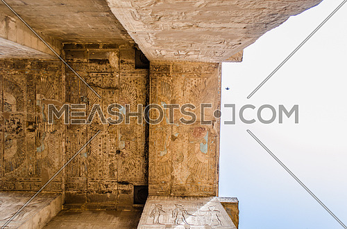 The Entrance of The Temple of Edfu on the west bank of the Nile in Edfu, Egypt.