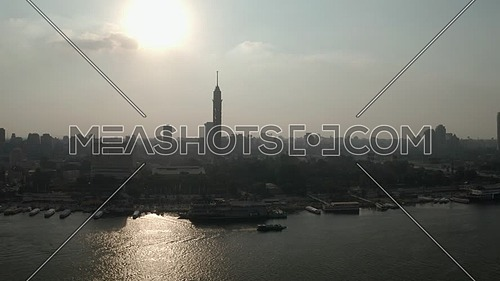 Aerial shot for the Cairo Tower and The River Nile showing Novotel Hotel in Cairo,  Egypt at day