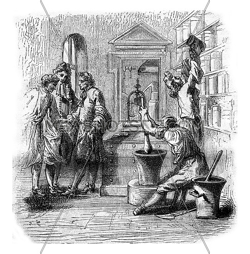 An apothecary shop in the sixteenth century, vintage engraved illustration. Magasin Pittoresque 1880.