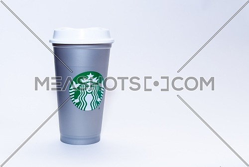 A colored Starbucks cup. December 2018 in Cairo - Egypt.